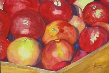 Apple Crate - water color painting by Cape Ann artist Kate Somers