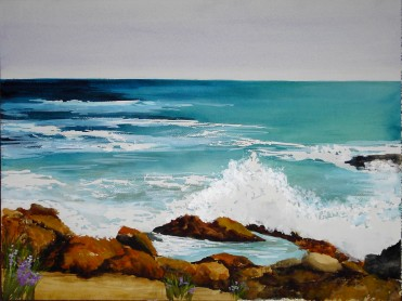 Bass Rocks Surf- Watercolor Painting by Cape Ann Artist Kate Somers