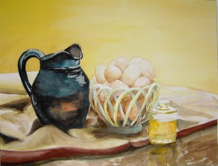 Breakfast - water color painting by Cape Ann artist Kate Somers
