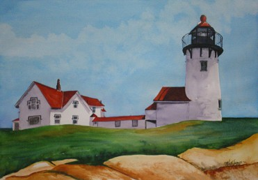 Eastern Point Light- Watercolor Painting by Cape Ann Artist Kate Somers