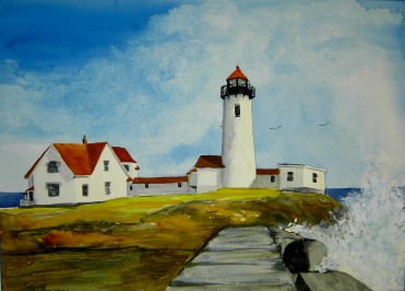 Eastern Point Lighthouse with Surf- Watercolor Painting by Cape Ann Artist Kate Somers