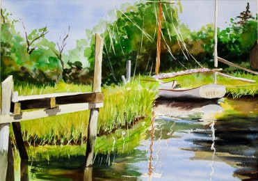 Essex Creek- Watercolor Painting by Cape Ann Artist Kate Somers