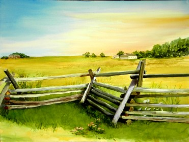 Gettysburg Fence- Watercolor Painting by Cape Ann Artist Kate Somers