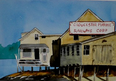 Gloucester Marine- Watercolor Painting by Cape Ann Artist Kate Somers
