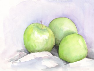 Green Apples - water color painting by Cape Ann artist Kate Somers