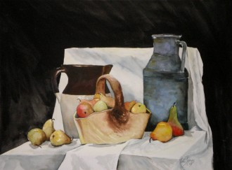 Harvest Pears - water color painting by Cape Ann artist Kate Somers
