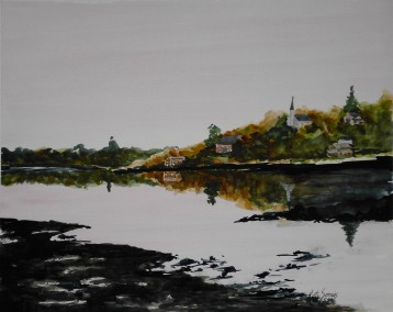 Mill River- Watercolor Painting by Cape Ann Artist Kate Somers