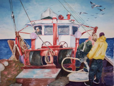 On Deck- Watercolor Painting by Cape Ann Artist Kate Somers