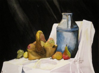 Pear Basket - water color painting by Cape Ann artist Kate Somers