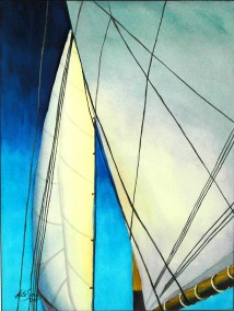 Sails 1- Watercolor Painting by Cape Ann Artist Kate Somers