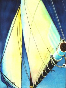 Sails 2- Watercolor Painting by Cape Ann Artist Kate Somers