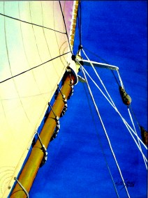 Sails 3- Watercolor Painting by Cape Ann Artist Kate Somers