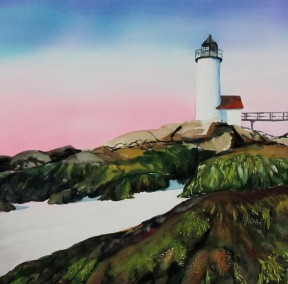 Squam Light Morning- Watercolor Painting by Cape Ann Artist Kate Somers