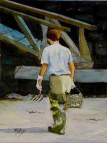 The Clammer- Watercolor Painting by Cape Ann Artist Kate Somers