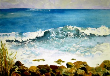 The Perfect Wave- Watercolor Painting by Cape Ann Artist Kate Somers