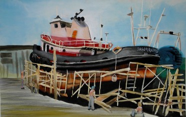 Tug on the Ways- Watercolor Painting by Cape Ann Artist Kate Somers