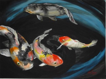 koi Pond Watercolor Painting By Cape Ann Artist Kate Somers