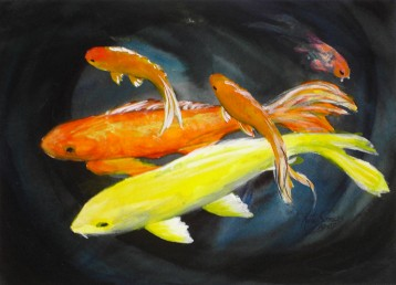 koi Watercolor Painting By Cape Ann Artist Kate Somers